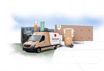 De bedrijfswagen en koffiekar ingepakt in de nieuwe huisstijl