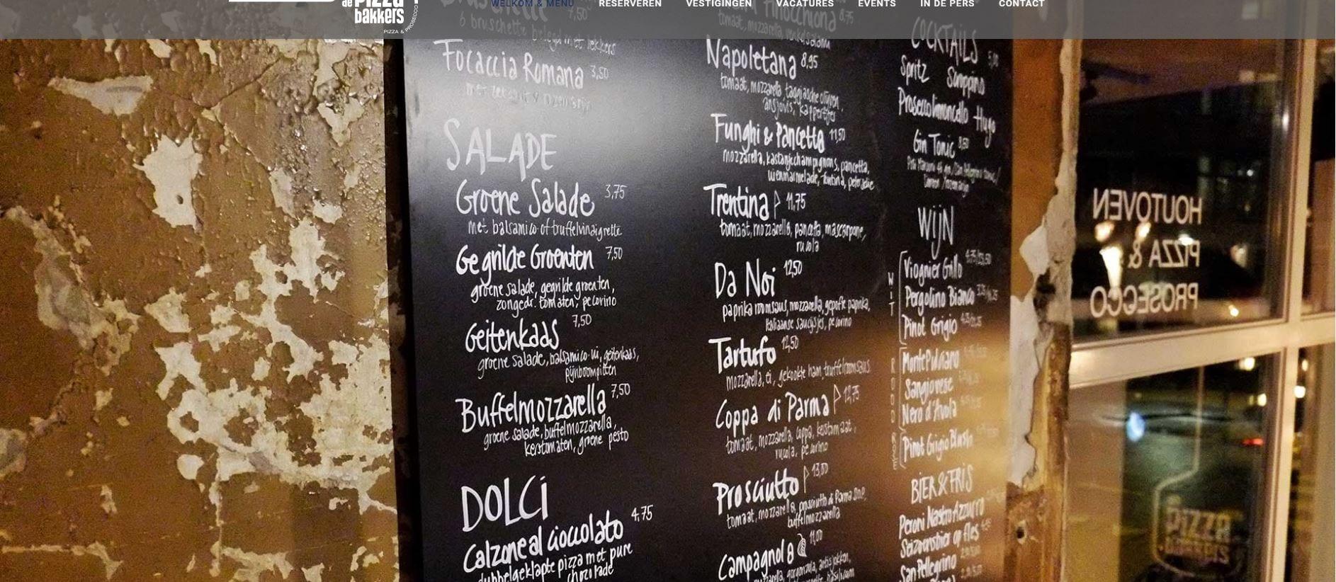 De Pizzabakkers - menukaart