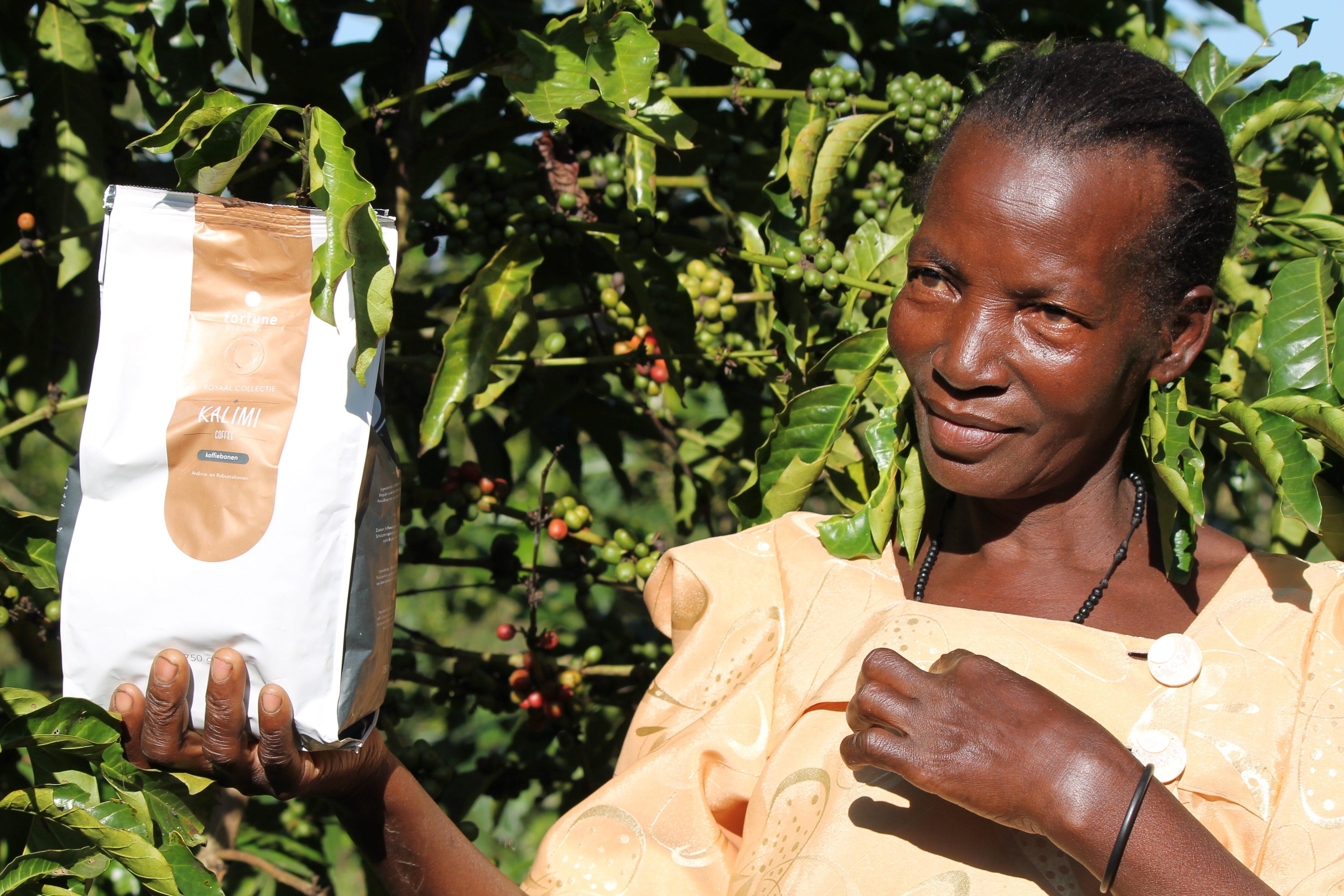 Koffieboerin Betty Kalimi, naamdraagster van onze Kalimi Coffee